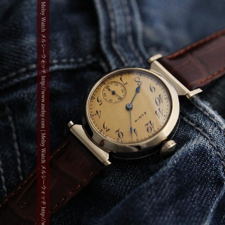 可動ラグを持つエルジンの雰囲気あるアンティーク腕時計-W1462-5
