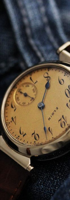 可動ラグを持つエルジンの雰囲気あるアンティーク腕時計-W1462-6