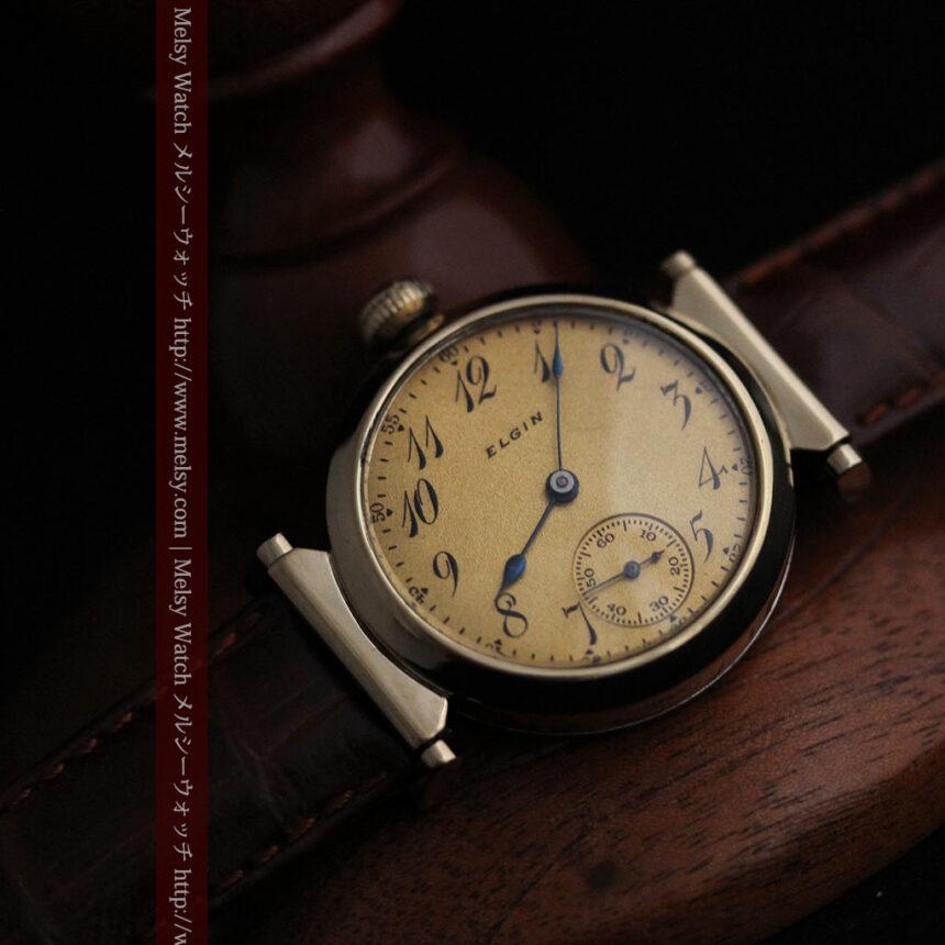 可動ラグを持つエルジンの雰囲気あるアンティーク腕時計-W1462-7