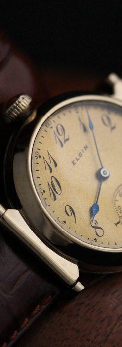 可動ラグを持つエルジンの雰囲気あるアンティーク腕時計-W1462-8