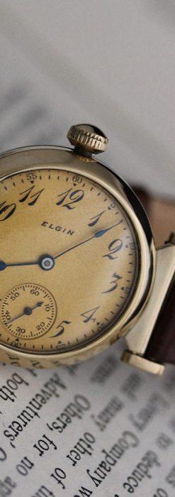可動ラグを持つエルジンの雰囲気あるアンティーク腕時計-W1462-9