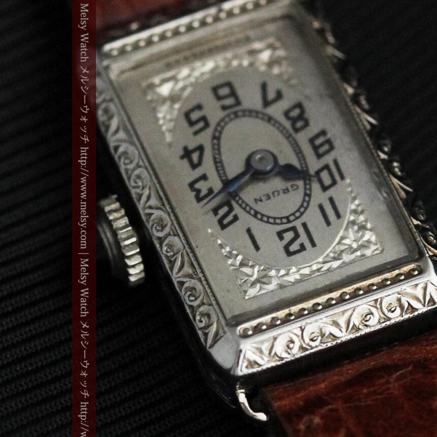 個性の光るグリュエン 女性用アンティーク腕時計【1920年頃】-W1464-11