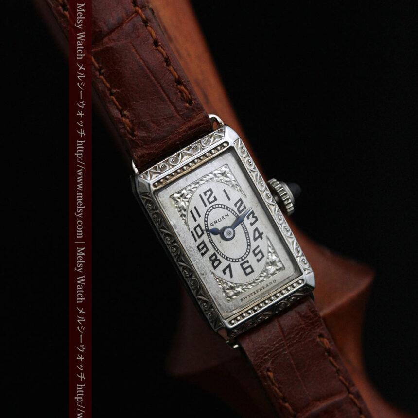 個性の光るグリュエン 女性用アンティーク腕時計【1920年頃】-W1464-3
