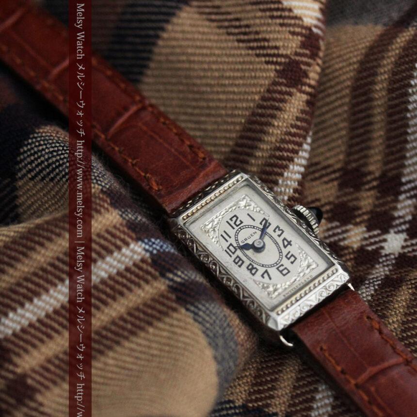 個性の光るグリュエン 女性用アンティーク腕時計【1920年頃】-W1464-4