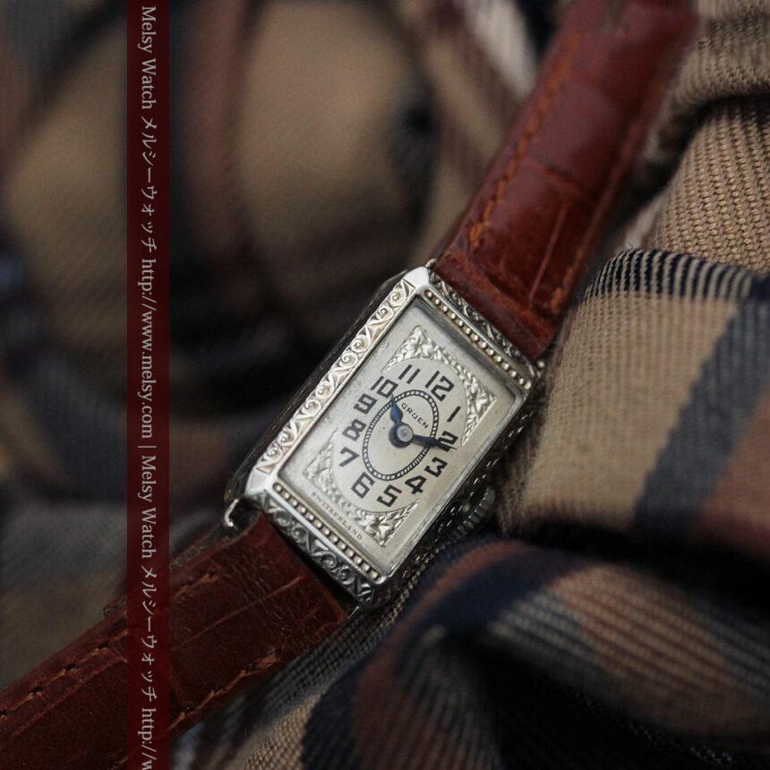 個性の光るグリュエン 女性用アンティーク腕時計【1920年頃】-W1464-5