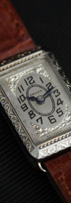 個性の光るグリュエン 女性用アンティーク腕時計【1920年頃】-W1464-7