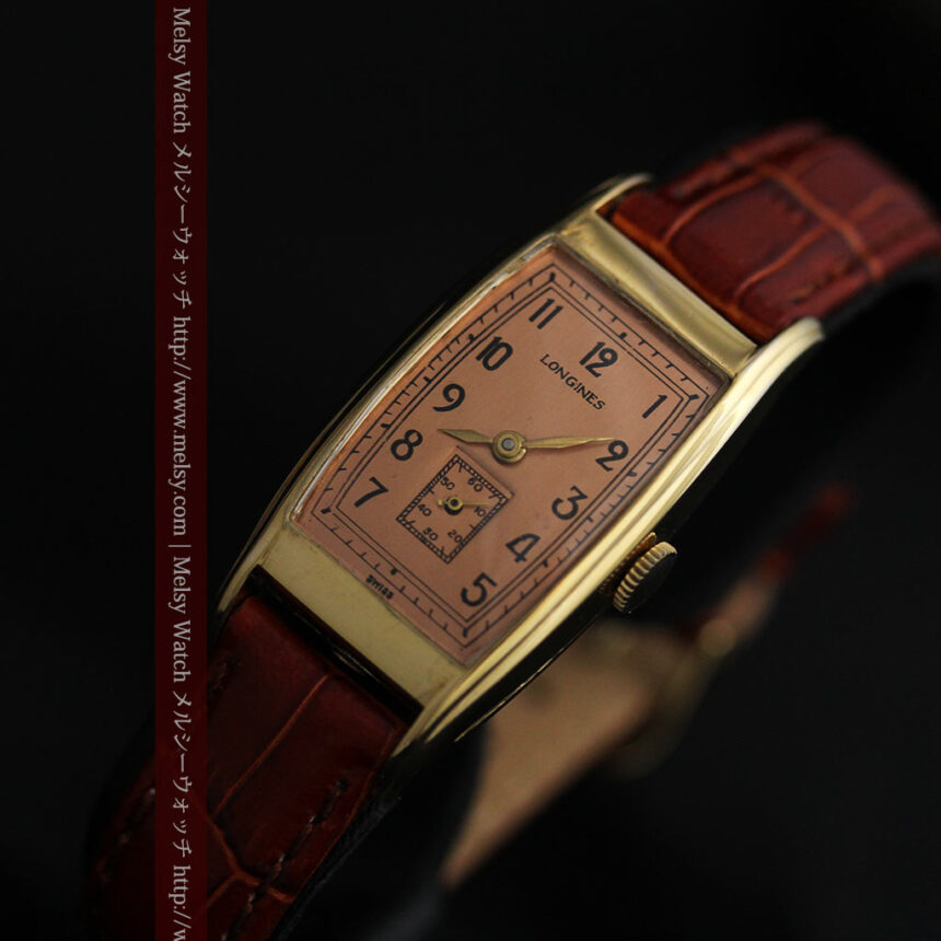 ロンジンのアンティーク腕時計【1939年製】ローズ色-W1465-11