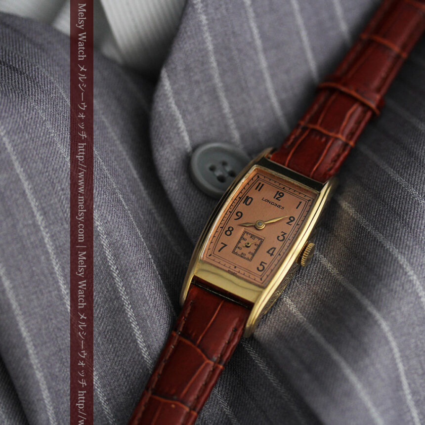 ロンジンのアンティーク腕時計【1939年製】ローズ色-W1465-2