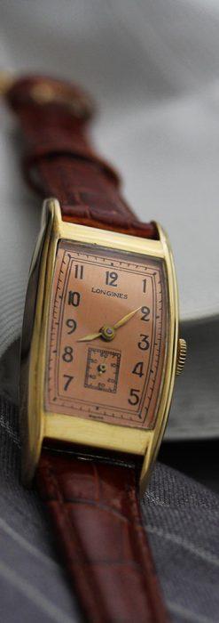ロンジンのアンティーク腕時計【1939年製】ローズ色-W1465-3