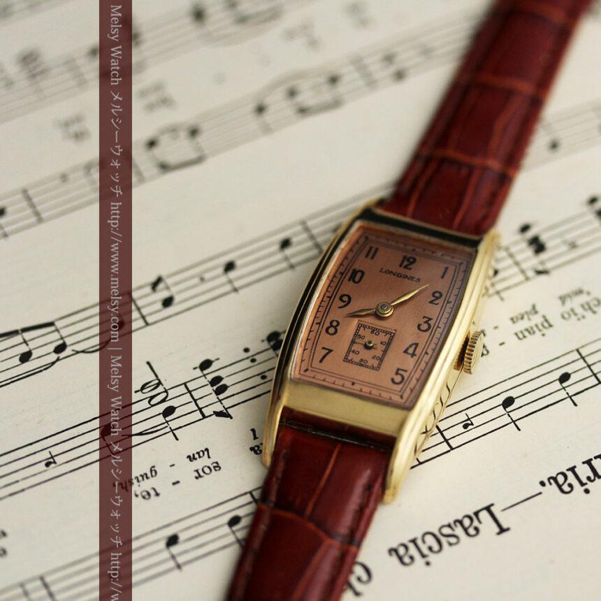 ロンジンのアンティーク腕時計【1939年製】ローズ色-W1465-8
