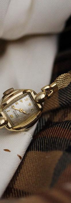 グリュエンの上品なメッシュバンドのアンティーク腕時計 【1950年頃】-W1466-1