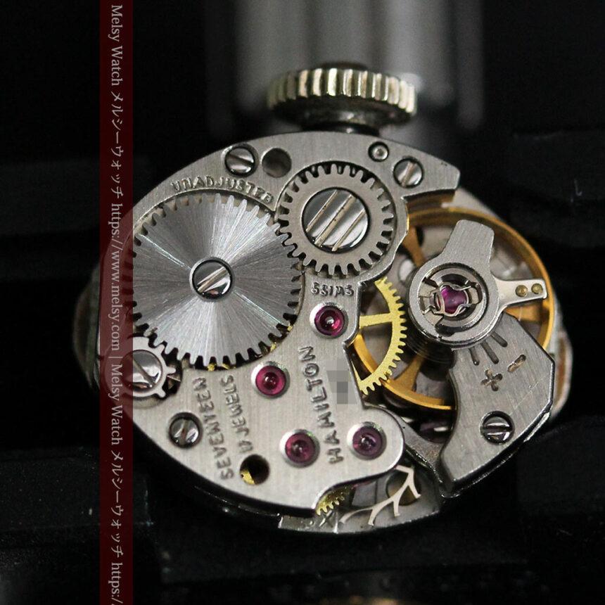ハミルトンの上品な姿の女性用金無垢腕時計 【1960年頃】-W1469-12