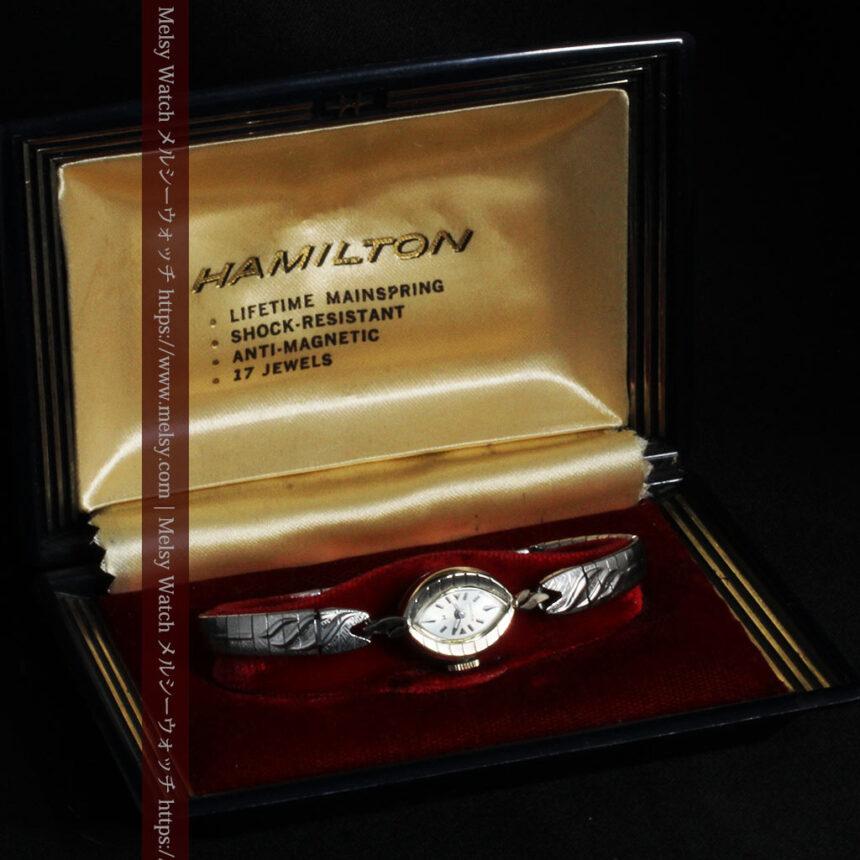 ハミルトンの上品な姿の女性用金無垢腕時計 【1960年頃】-W1469-13