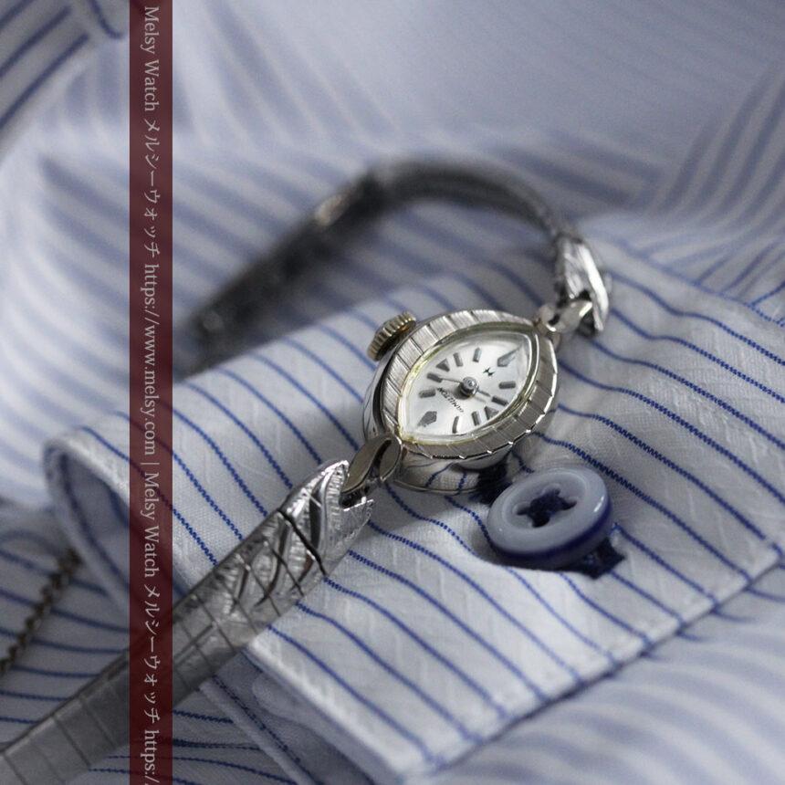 ハミルトンの上品な姿の女性用金無垢腕時計 【1960年頃】-W1469-2