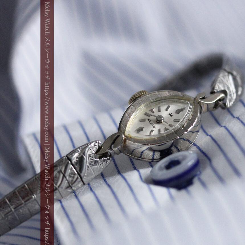 ハミルトンの上品な姿の女性用金無垢腕時計 【1960年頃】-W1469-3