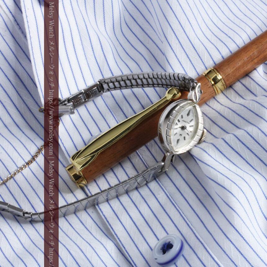 ハミルトンの上品な姿の女性用金無垢腕時計 【1960年頃】-W1469-9