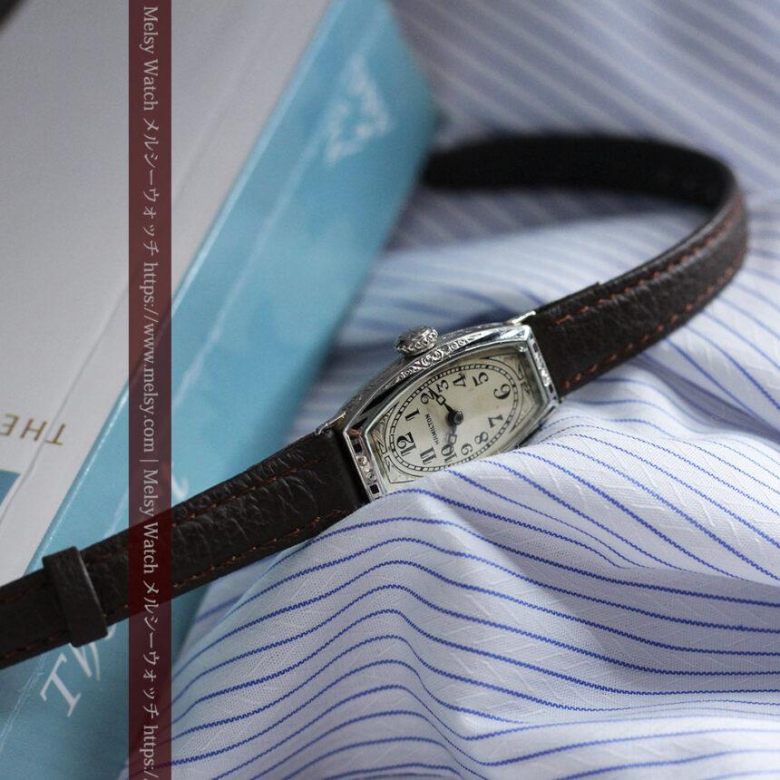 上品さが光る美しいハミルトンの金無垢アンティーク腕時計【1930年頃】箱付き-W1470-1