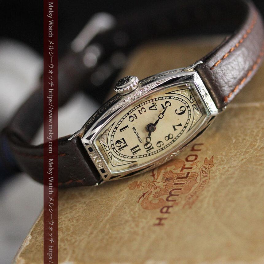 上品さが光る美しいハミルトンの金無垢アンティーク腕時計【1930年頃】箱付き-W1470-10