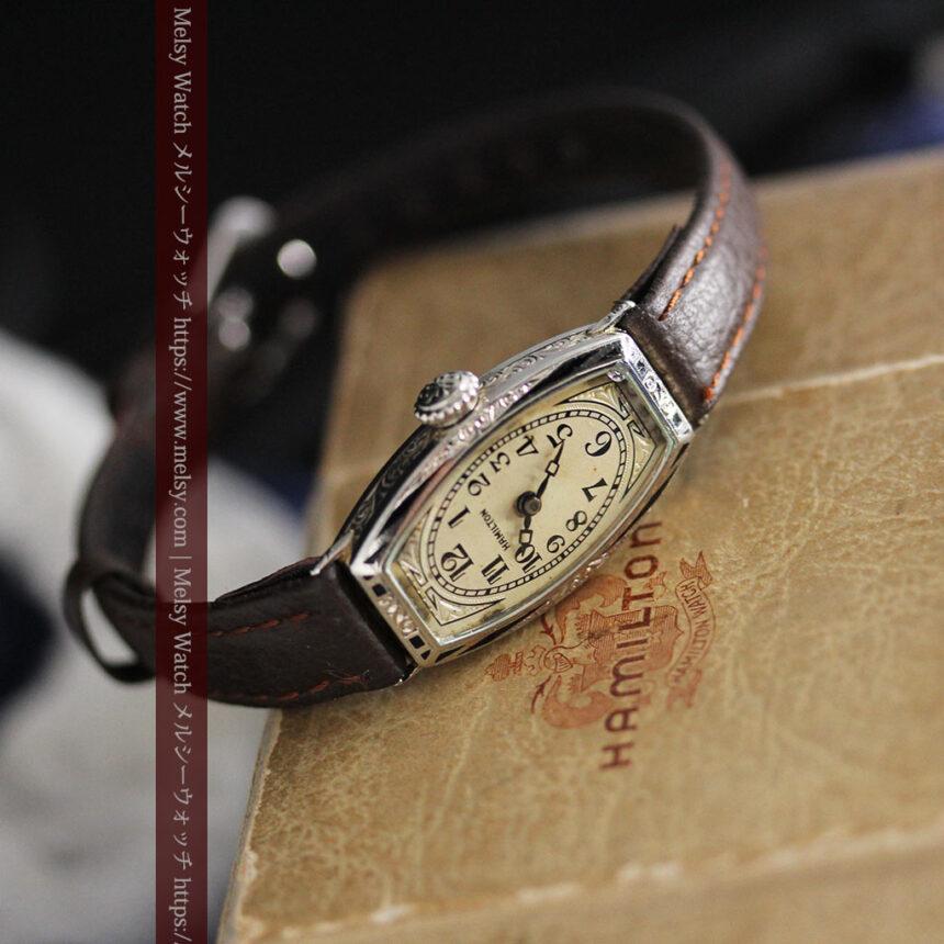 上品さが光る美しいハミルトンの金無垢アンティーク腕時計【1930年頃】箱付き-W1470-11