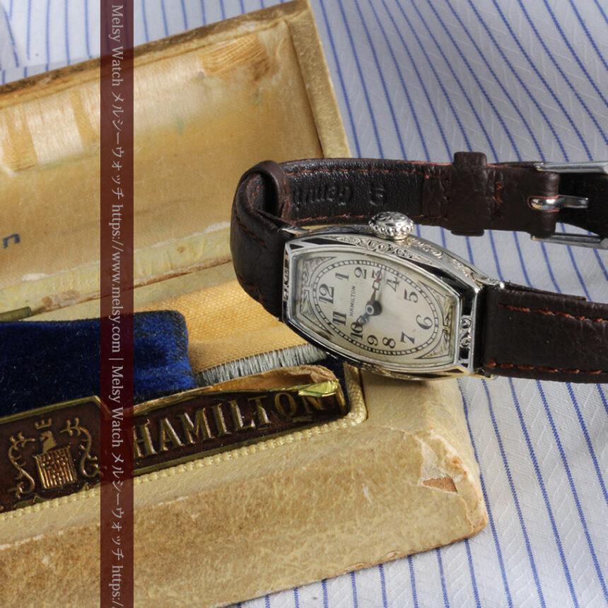 上品さが光る美しいハミルトンの金無垢アンティーク腕時計【1930年頃】箱付き-W1470-14