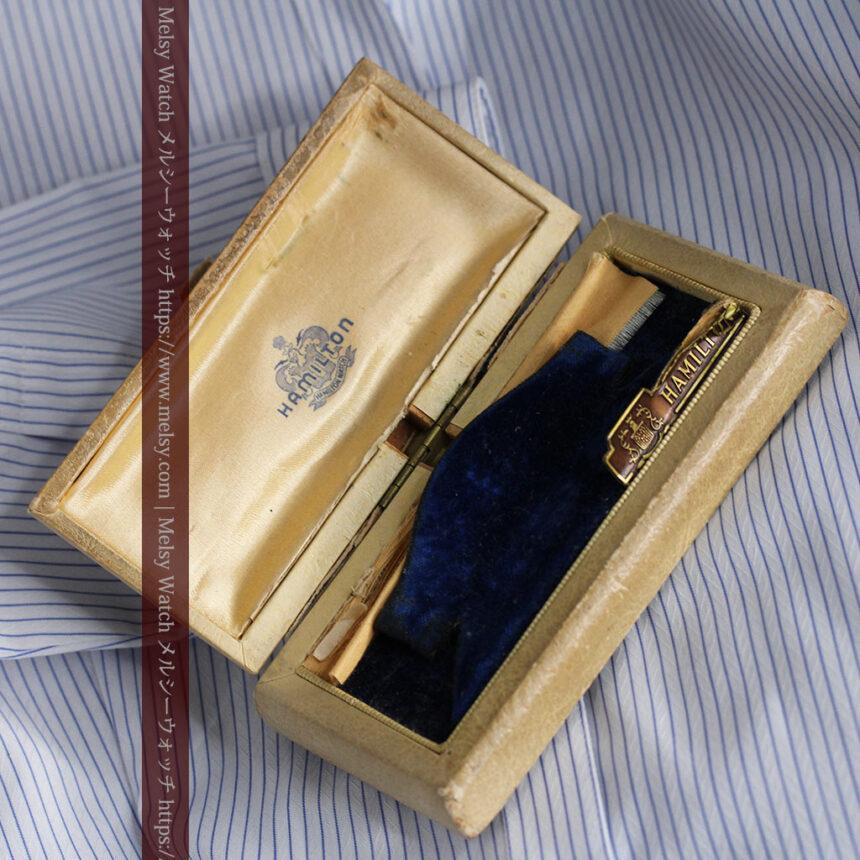上品さが光る美しいハミルトンの金無垢アンティーク腕時計【1930年頃】箱付き-W1470-15