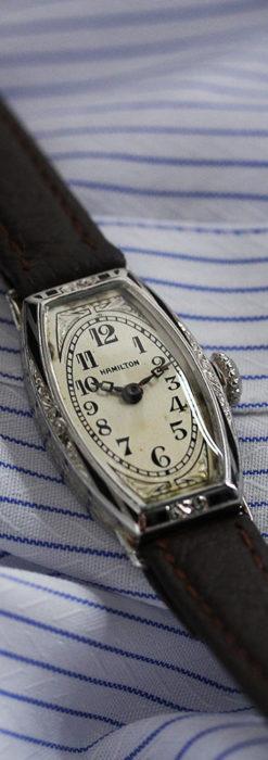 上品さが光る美しいハミルトンの金無垢アンティーク腕時計【1930年頃】箱付き-W1470-2