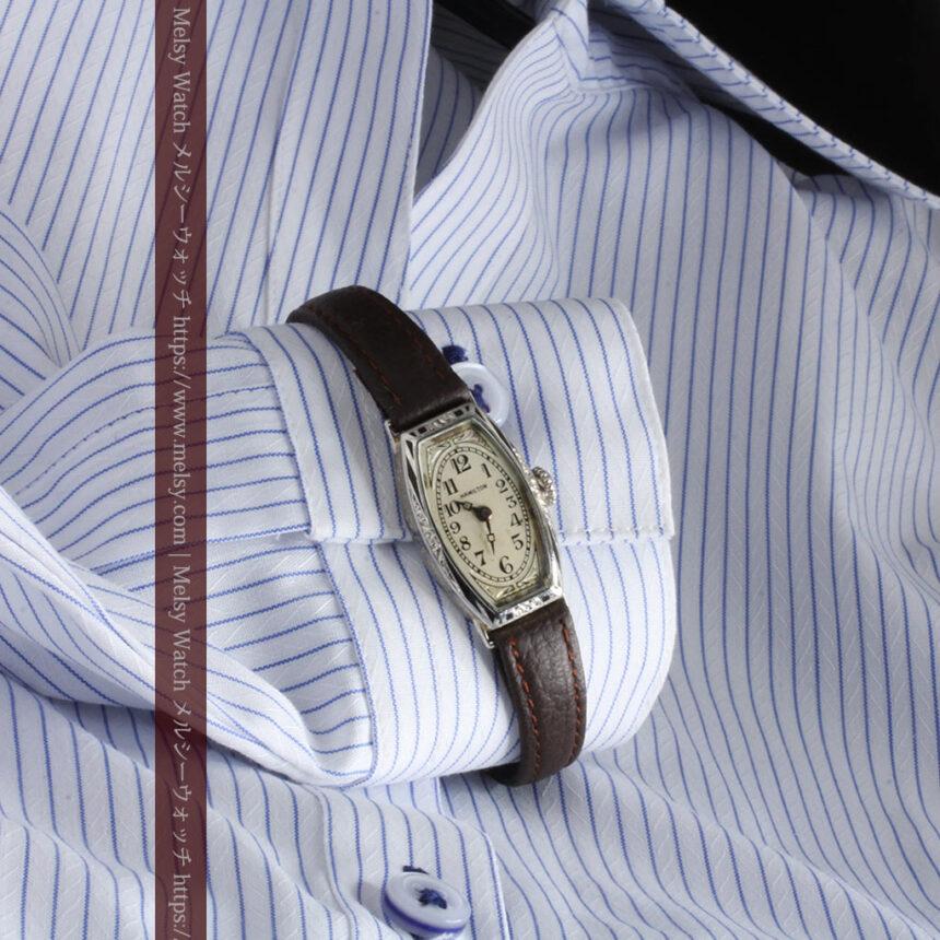上品さが光る美しいハミルトンの金無垢アンティーク腕時計【1930年頃】箱付き-W1470-3