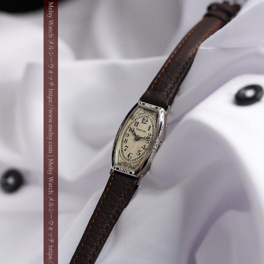 上品さが光る美しいハミルトンの金無垢アンティーク腕時計【1930年頃】箱付き-W1470-5