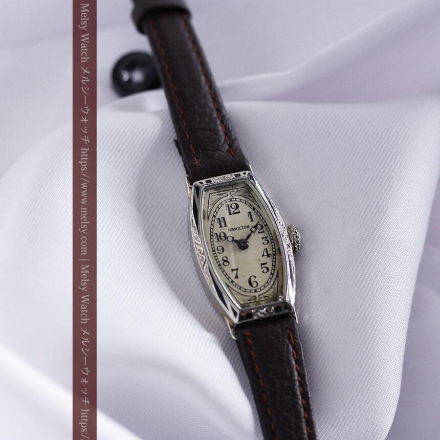 上品さが光る美しいハミルトンの金無垢アンティーク腕時計【1930年頃】箱付き-W1470-6