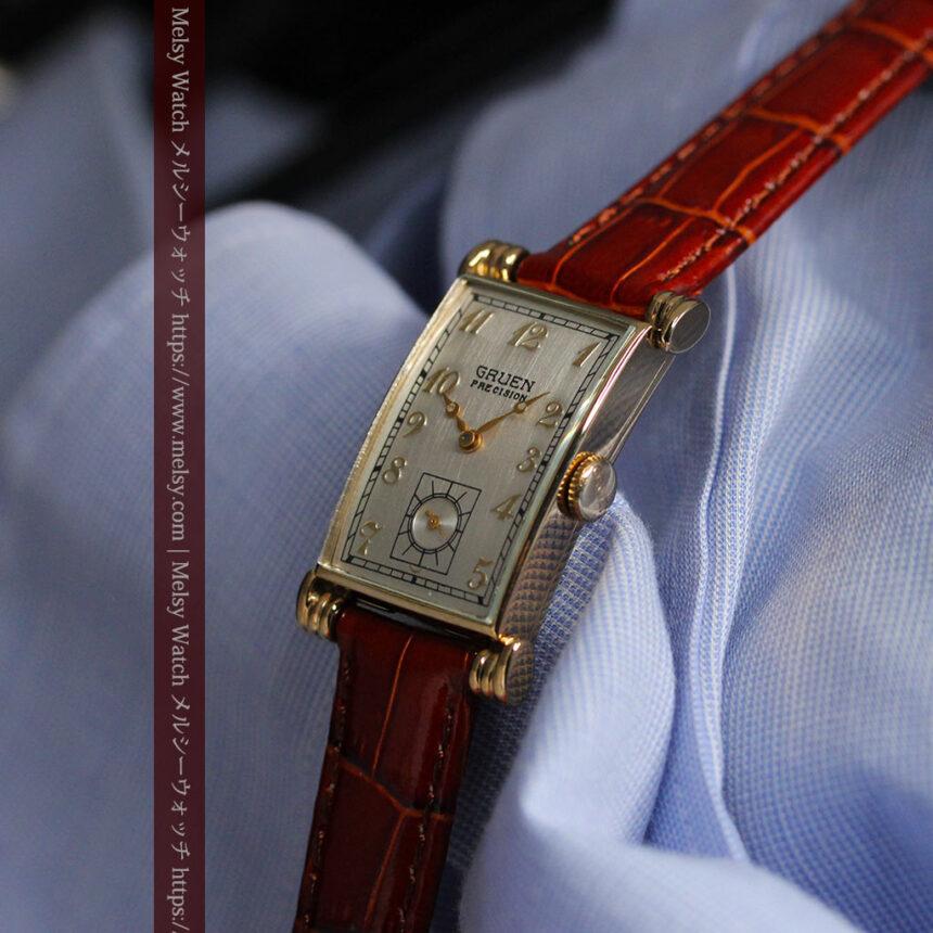 グリュエンの上品さと風格を備えるアンティーク腕時計【1940年頃】-W1471-10