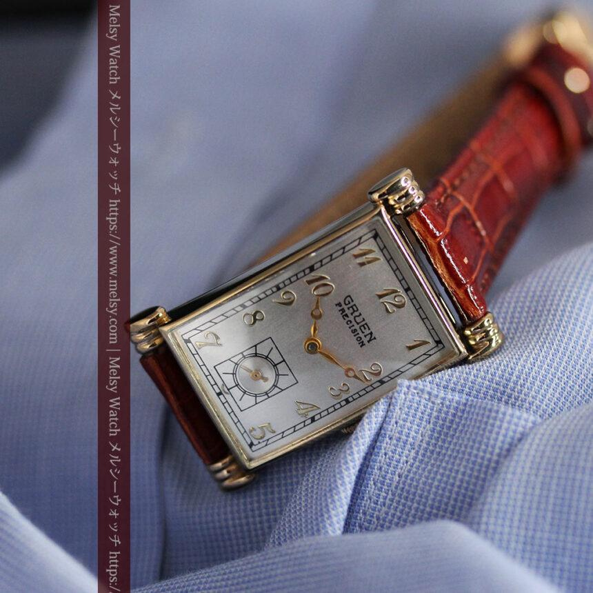 グリュエンの上品さと風格を備えるアンティーク腕時計【1940年頃】-W1471-12