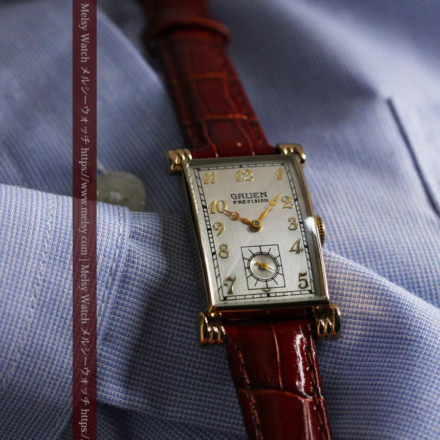 グリュエンの上品さと風格を備えるアンティーク腕時計【1940年頃】-W1471-7