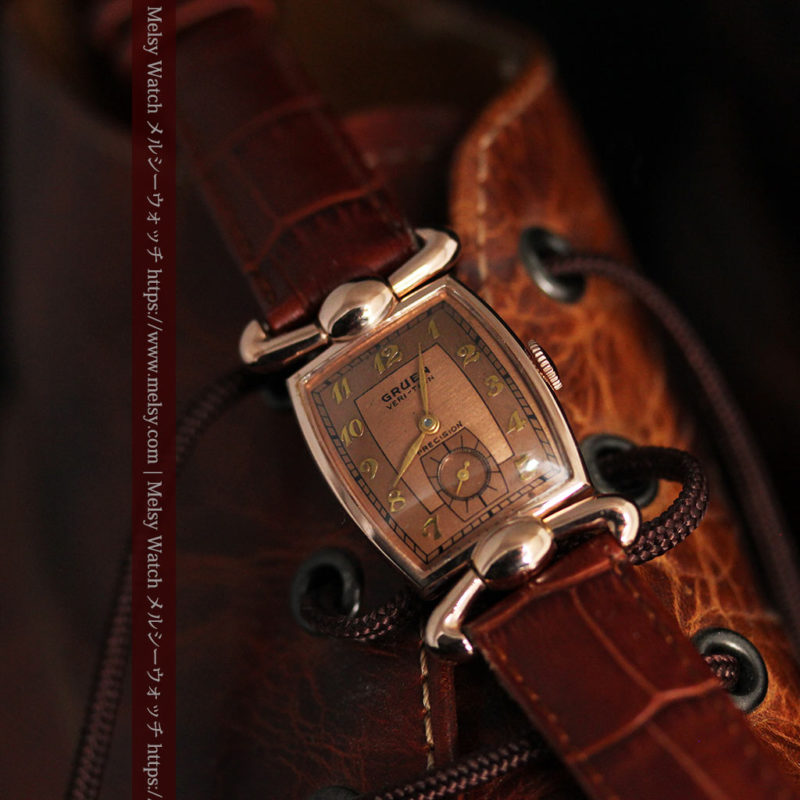 こだわりを重ねたグリュエンのローズ色のアンティーク腕時計【1940年頃】-W1472-1