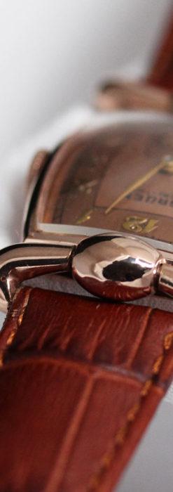 こだわりを重ねたグリュエンのローズ色のアンティーク腕時計【1940年頃】-W1472-10