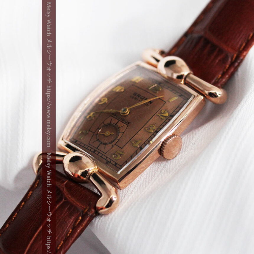 こだわりを重ねたグリュエンのローズ色のアンティーク腕時計【1940年頃】-W1472-11
