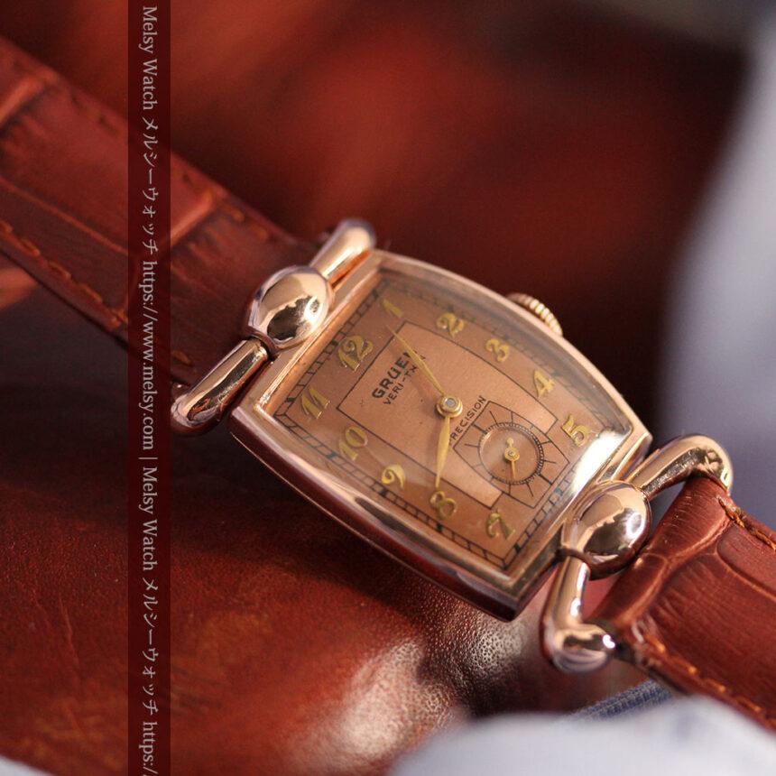 こだわりを重ねたグリュエンのローズ色のアンティーク腕時計【1940年頃】-W1472-2