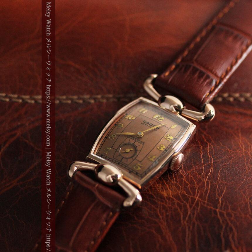 こだわりを重ねたグリュエンのローズ色のアンティーク腕時計【1940年頃】-W1472-3