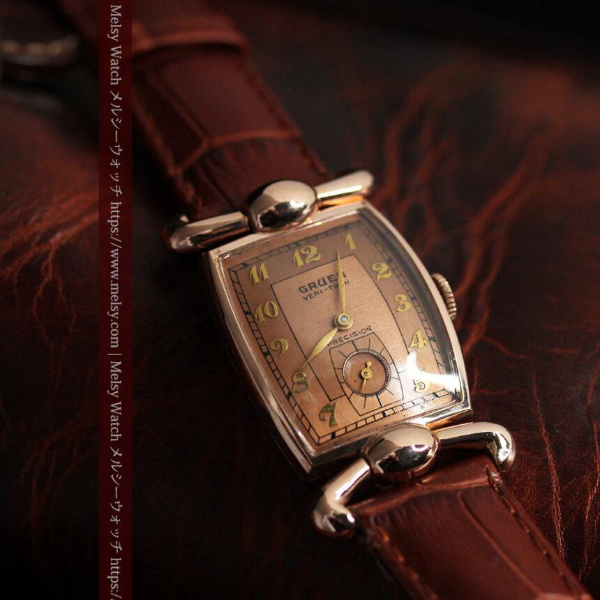 こだわりを重ねたグリュエンのローズ色のアンティーク腕時計【1940年頃】-W1472-4