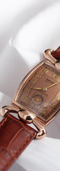 こだわりを重ねたグリュエンのローズ色のアンティーク腕時計【1940年頃】-W1472-5