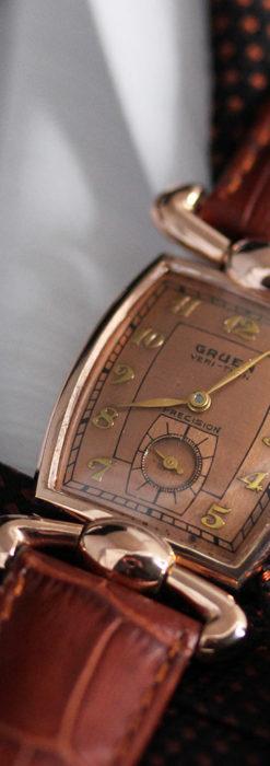 こだわりを重ねたグリュエンのローズ色のアンティーク腕時計【1940年頃】-W1472-6