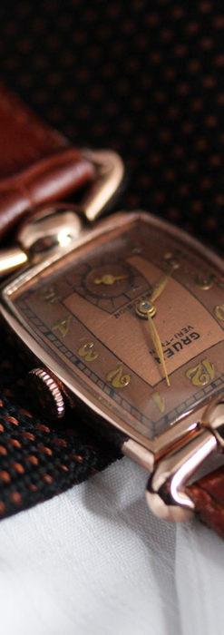 こだわりを重ねたグリュエンのローズ色のアンティーク腕時計【1940年頃】-W1472-7