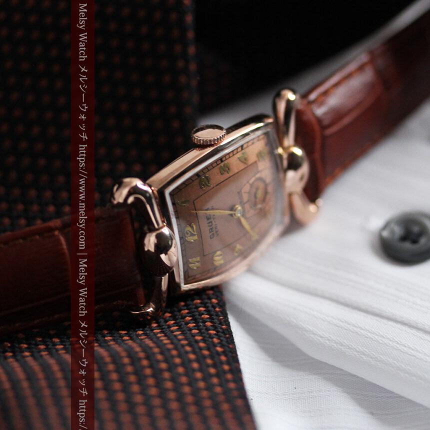 こだわりを重ねたグリュエンのローズ色のアンティーク腕時計【1940年頃】-W1472-8