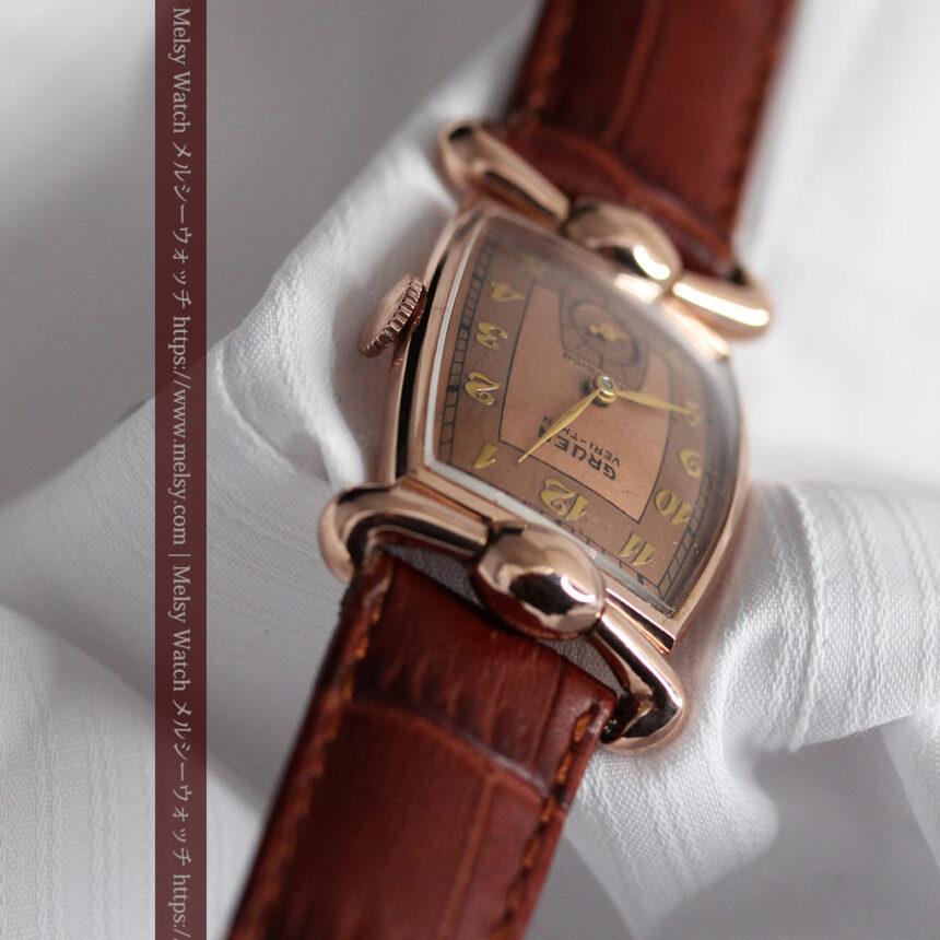 こだわりを重ねたグリュエンのローズ色のアンティーク腕時計【1940年頃】-W1472-9