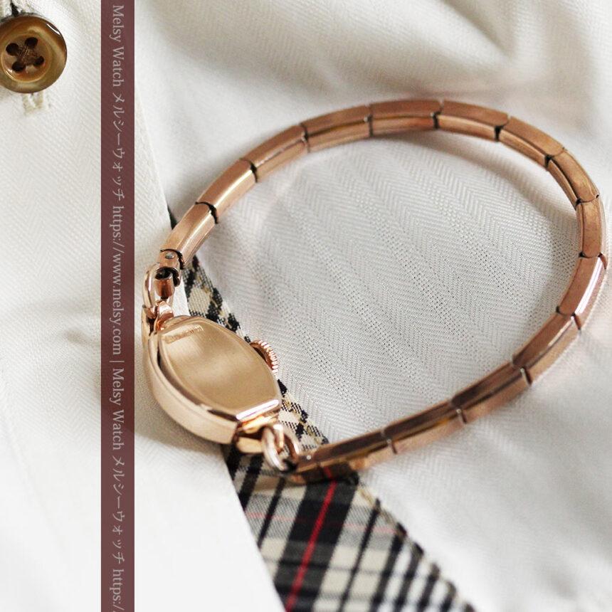 ジャガールクルトのローズ色の女性用アンティーク腕時計 【1940年頃】-W1473-10