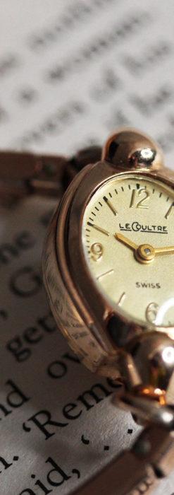 ジャガールクルトのローズ色の女性用アンティーク腕時計 【1940年頃】-W1473-11
