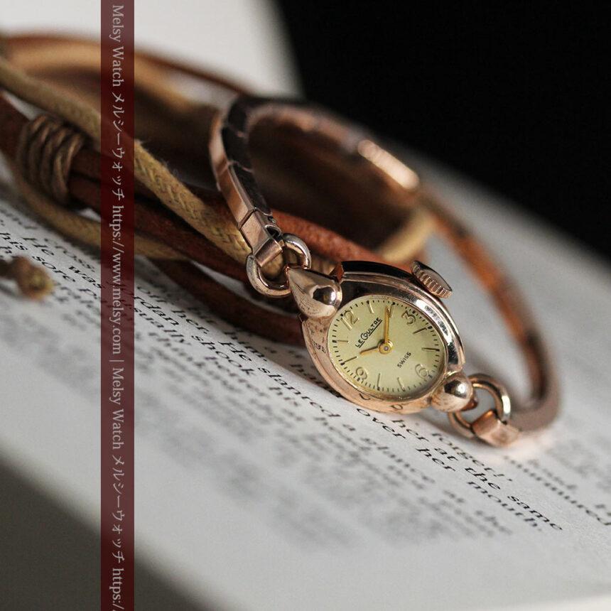 ジャガールクルトのローズ色の女性用アンティーク腕時計 【1940年頃】-W1473-13