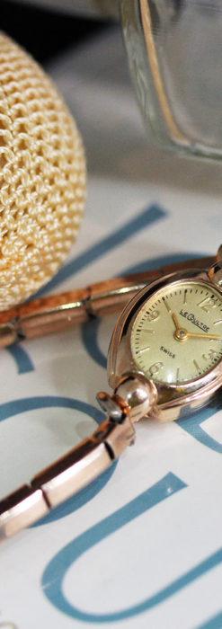 ジャガールクルトのローズ色の女性用アンティーク腕時計 【1940年頃】-W1473-14