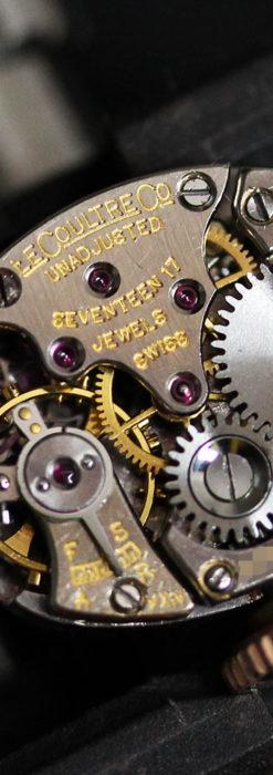 ジャガールクルトのローズ色の女性用アンティーク腕時計 【1940年頃】-W1473-16