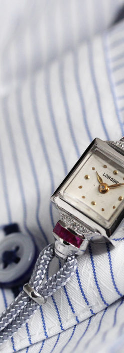 ロンジン 金無垢女性用アンティーク腕時計 ルビーとダイヤ装飾 【1943年製】-W1474-1