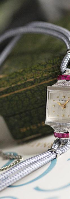 ロンジン 金無垢女性用アンティーク腕時計 ルビーとダイヤ装飾 【1943年製】-W1474-10